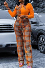 Load image into Gallery viewer, Orange Plaid One-Piece