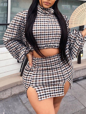 Turtle Neck Two Piece Skirt Set