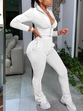 Load image into Gallery viewer, Patchwork White Two Piece Sportwear