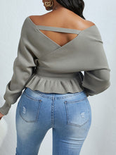 Load image into Gallery viewer, V-Neck Fold Design Grey Sweater