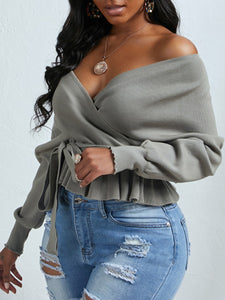 V-Neck Fold Design Grey Sweater