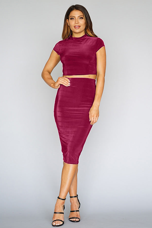 Burgundy 2 piece Bodycon Skirt Set