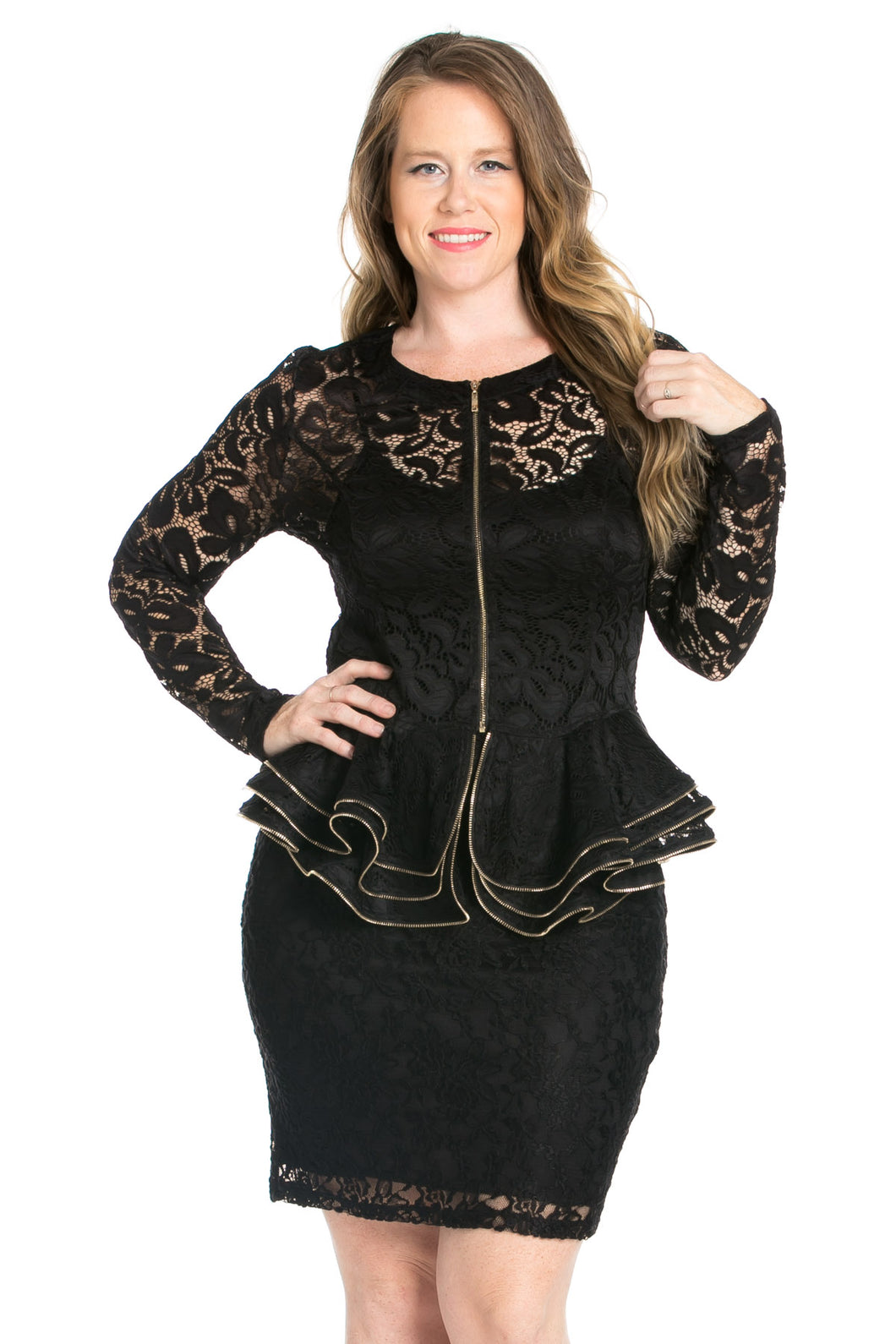 Layered Peplum Long Sleeved Lace Top- Plus Size