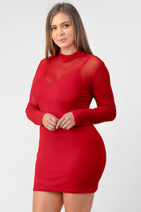 Plus Size - Mesh Mock Neck Bodycon Dress
