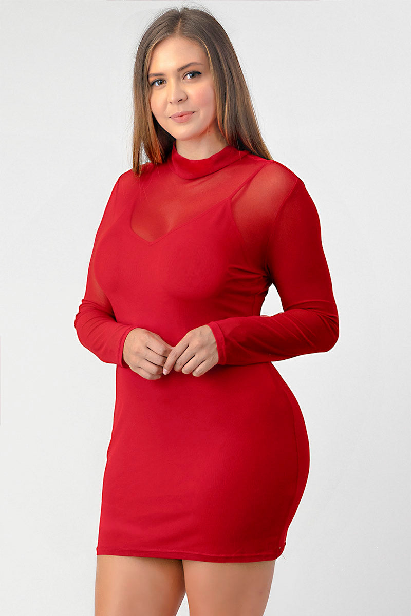 Mesh Mock Neck Bodycon Dress- Plus Size