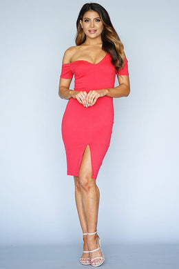 Classy Off The Shoulder Asymmetric Dress