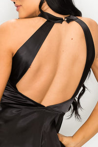 BLACK STRETCH SATIN PEPLUM HALTER BLOUSE