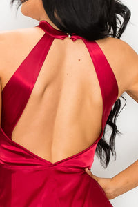 BURGUNDY STRETCH SATIN PEPLUM HALTER BLOUSE