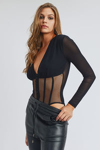 BLACK FISHNET SHEER MESH BACK DEEP V NECK BODYSUIT