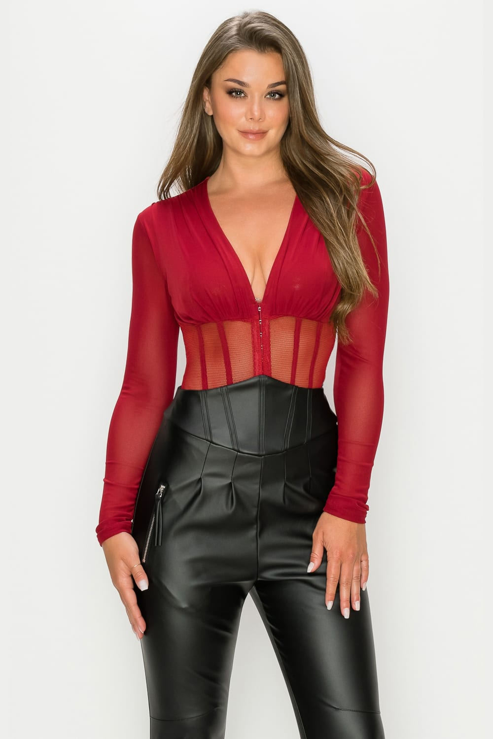 PREORDER - BURGUNDY FISHNET SHEER MESH BACK DEEP V NECK BODYSUIT ETA: 10/16