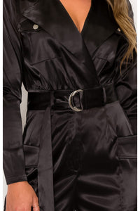 STRETCHY SATIN BELTED UTILITY JUMPSUI