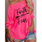 Plus sized Faith over Fear Oversized Pink Top
