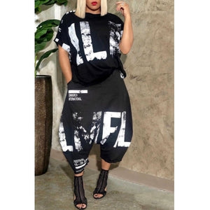 Plus Size Black and White Baggy 2 Piece Jumpsuit