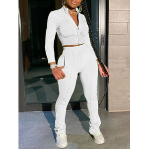 Patchwork White Two Piece Sportwear