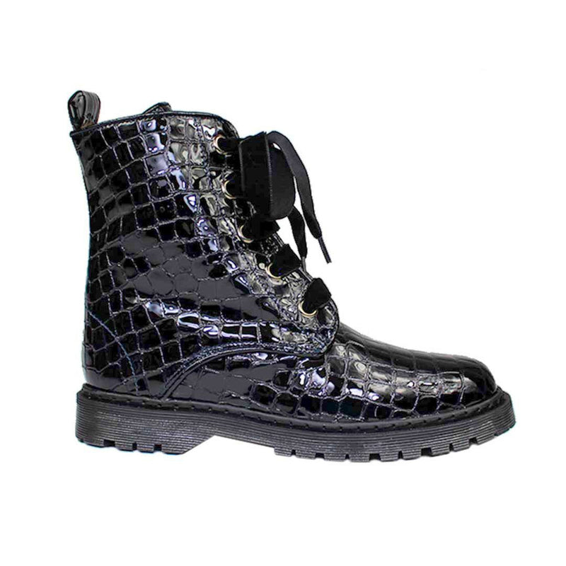 KENDAL Black Night Croco Leather Patent