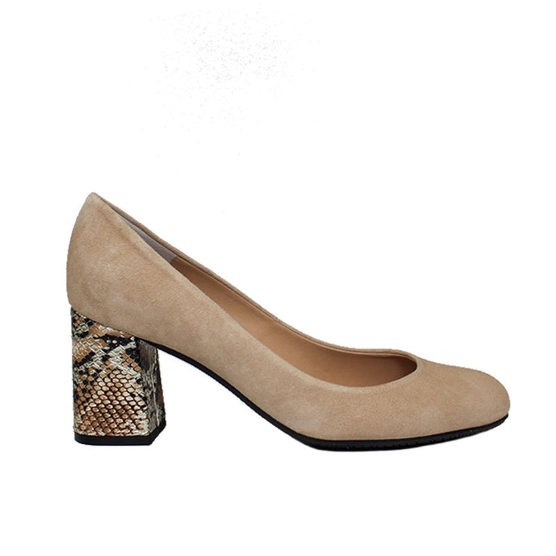 Viva Beige Suede & Multi Snake Print Leather