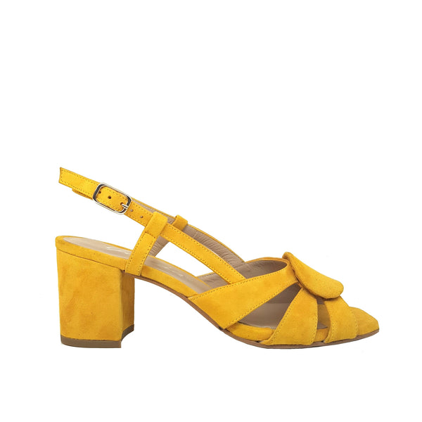 SORAYA Yellow Mustard Leather Suede