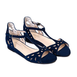 LUNA Navy Blue Leather Suede
