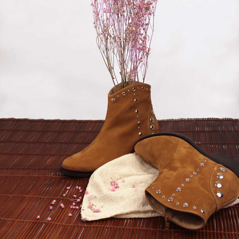 CALIFORNIA Brown Cinnamon Leather Suede