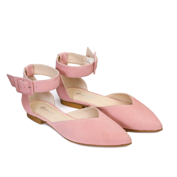 Victoria Pale Pink Leather Suede