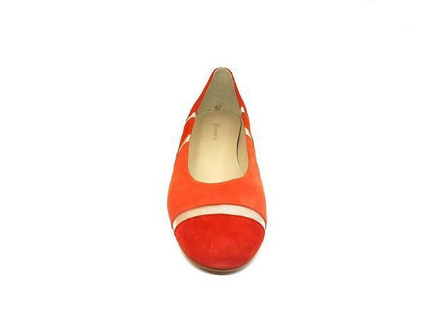 CURBA Red Orange Silver Leather Suede