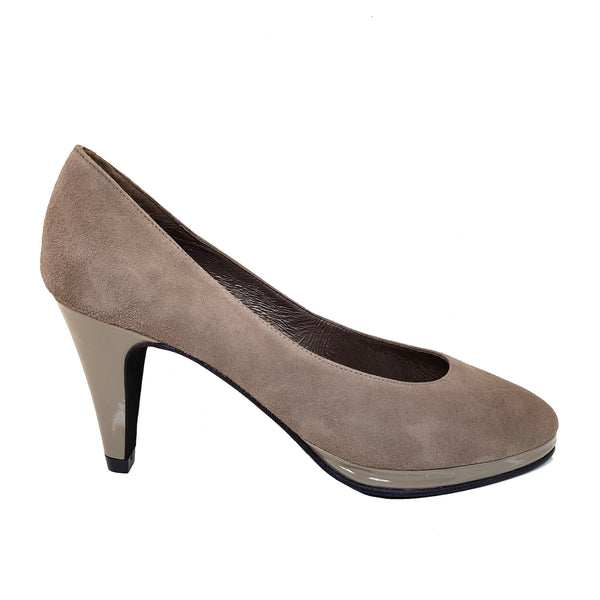 MARIPE Taupe Leather Suede & Patent