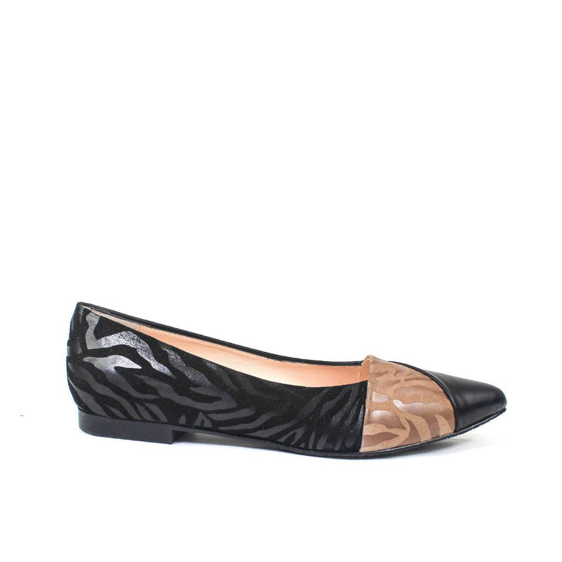 VARIOS Black Nappa & Animal Print Suede Leather