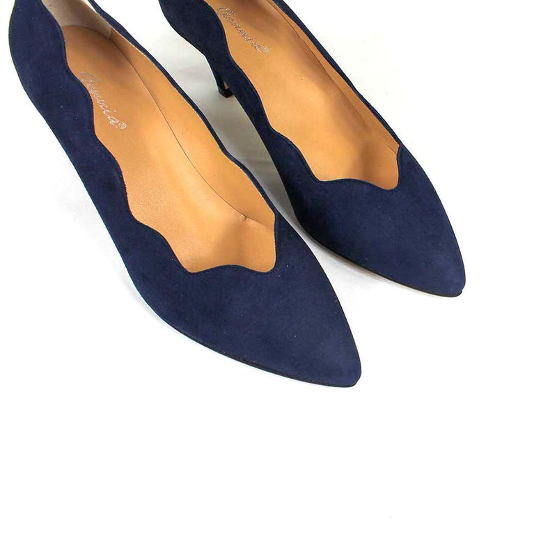 ISCOBA Navy Blue Leather Suede
