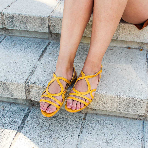 LETICIA Cuir Croco Jaune Moutarde