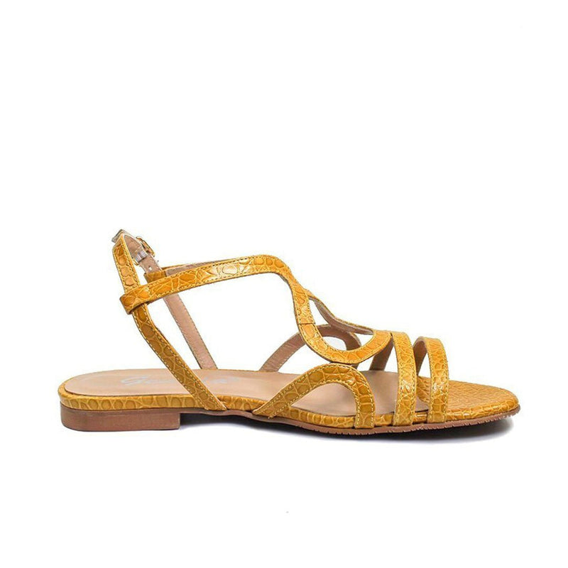 LETICIA Yellow Mustard Croco Leather Print