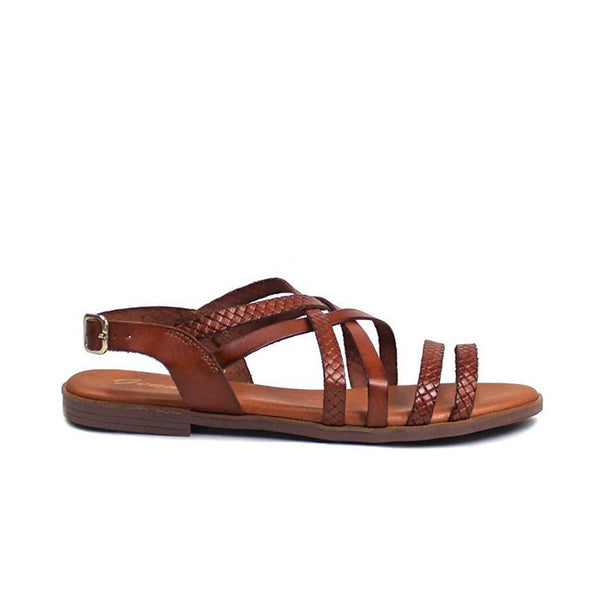 LYDIA Cuir Vachette Marron et Tressage Marron