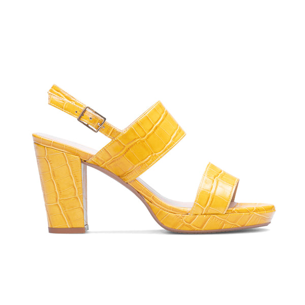 IDARA Mustard Croco Leather Print