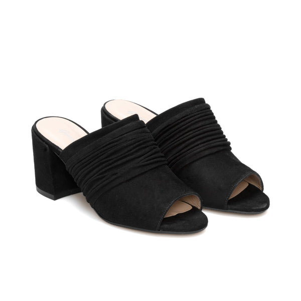 INES Black Leather Suede