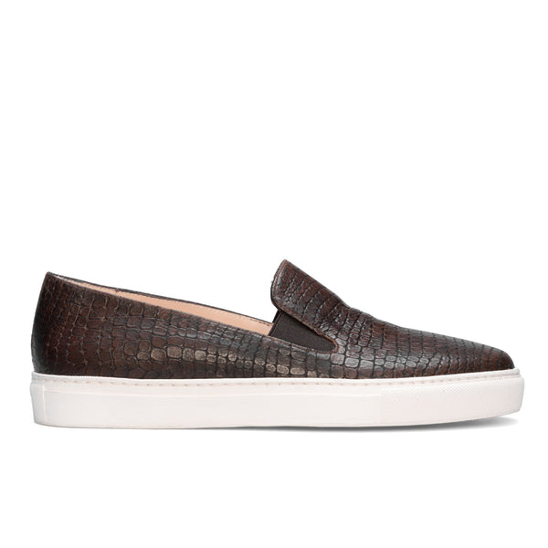 BEATRIZ Brown Leather Lizard Print