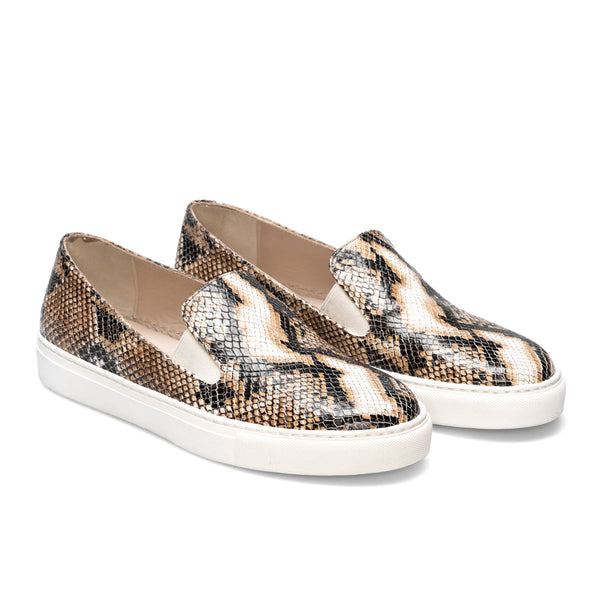 BEATRIZ Beige-Black Python Leather Print