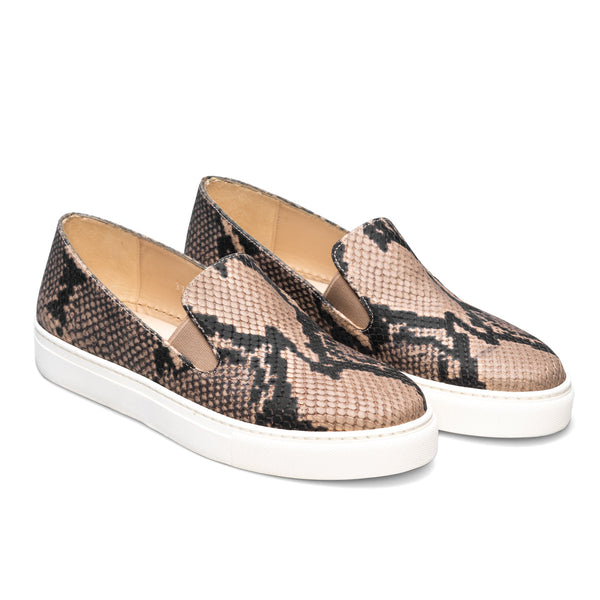 BEATRIZ Beige & Black Snake Leather Print