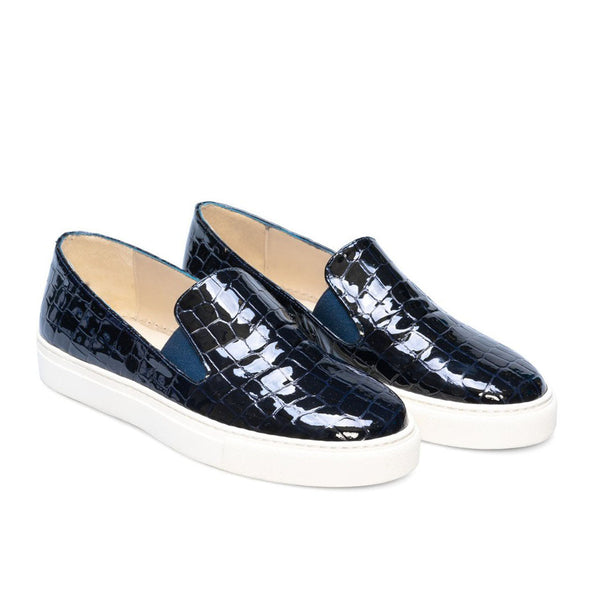 BEATRIZ Navy Croco Leather Patent