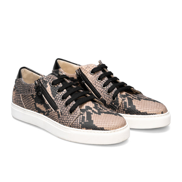 BETH Beige & Black Snake Leather Print