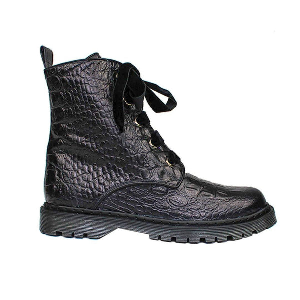 KENDAL Black Croco Leather Print