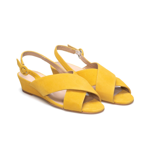 LEIRE Mustard Leather Suede