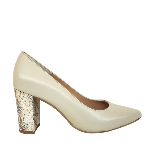 SIGGY Beige Nappa Leather and Rattlesnake Print