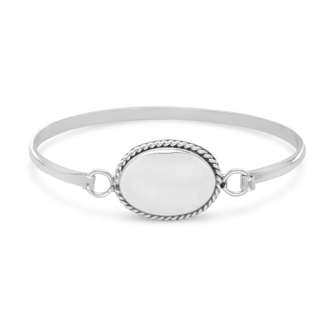 Bangle with Oval Tag and Rope Edge