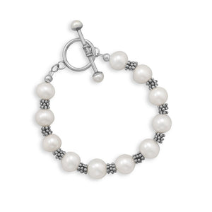 "7"" White Cultured Freshwater Pearl Toggle Bracelet"