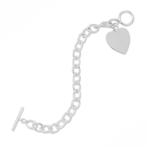 "7"" Toggle Bracelet with Heart Tag"