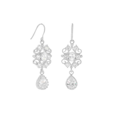 Filigree Design CZ Drop Earrings on French Wire