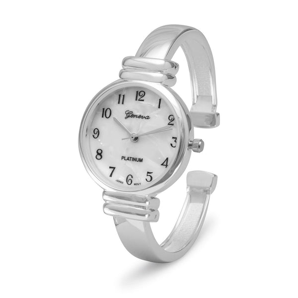 Polished Thin Band Hinged Fashion Cuff Watch