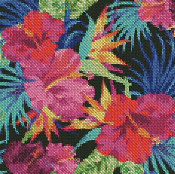 Tropical Flowers DIY 5D Diamond Painting Cross Stitch