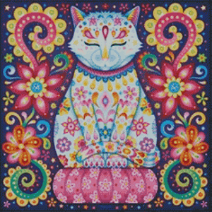 Henna Cat DIY 5D Diamond Painting Cross Stitch