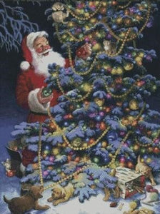 Santa Decorating a Tree DIY 5D Diamond Painting Cross Stitch