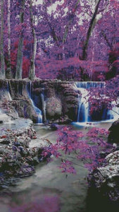 ** UPDATED ** Purple Forest & Waterfall 5D Diamond Painting Cross Stitch